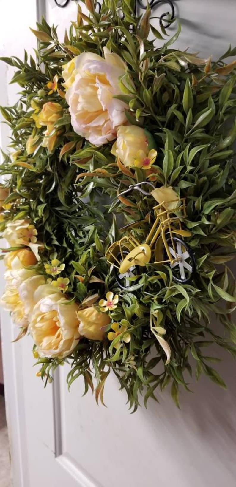Bicycle Wreath Peony Fern Wreath Yellow Wreath Bicycle Frontdoor Beach Cruiser Summer Wreath door wreath Peony Wreath Peonies