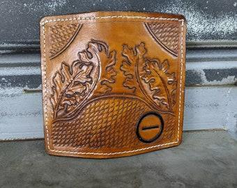 10 pocket leather Roper Wallet credit card liner and cash pockets in brown basket weave design and brown body