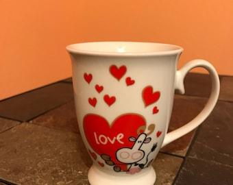 Cute Coffee Mug Cup Hearts Cow Love