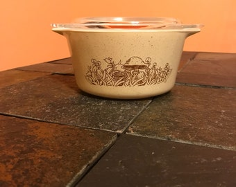 Vintage Pyrex Forest Fancies 1 Quart Casserole Dish With Lid 473-B