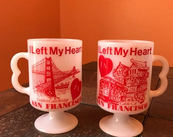 Pair Of Vintage Milk Glass Latte Mugs I Left My Heart In San Francisco Souvenir Golden Gate Bridge Cable Car