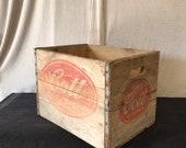 Vintage mid century Cott wooden beverage crate.