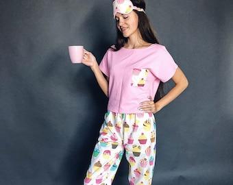 a5eb11f67 Pants Pajama Set Bears Sleep Mask Cotton Pajamas