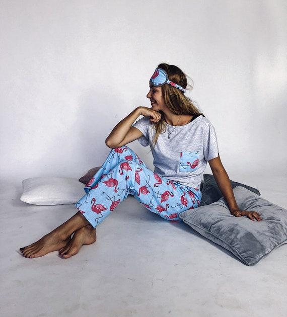 e7f47cc3f585 Bridesmade Pajama Party Pink Flamingo Sleep Mask Cotton