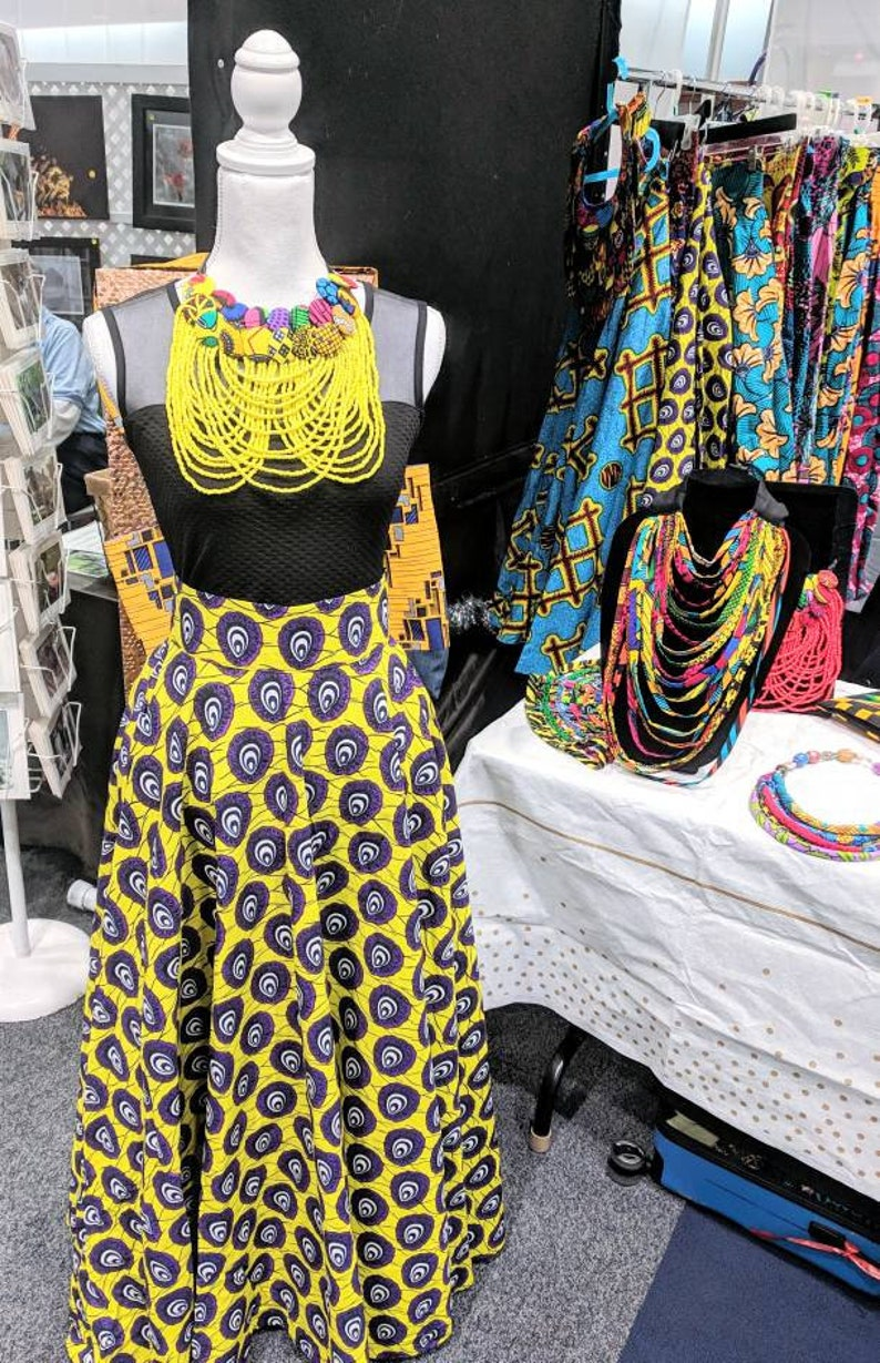 b8d8a44a7e High Waisted Purple & Yellow African Print Circle / Flare Maxi | Etsy