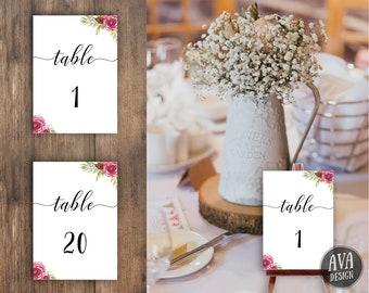 PRINTABLE Table Numbers | Table Numbers Wedding | Table Numbers Printable | Table Numbers | Floral Table Numbers | Wedding | WEDBUR
