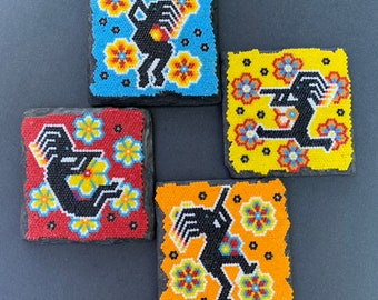 "Flute Player Coaster Set of 4 ("" Kokopelli "") Huichol Bead Art"