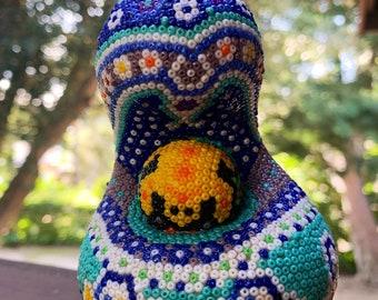 Mother & Child Sculpture Huichol Bead Art