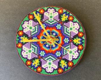 Huichol Bead Art Mandala Clock