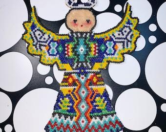 Fire & Water Huichol Style Bead Angel / Christmas Ornament
