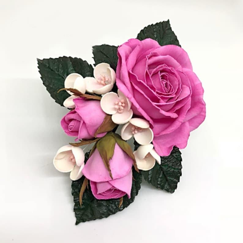 02074e6ba2894 Pink rose hair clip Pink flower hair accessory Wedding hair