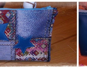 Faux leather and fabric pouch