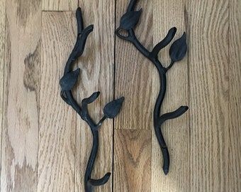 Vintage Black Wrought Iron 13in Towel Hooks with Leaves