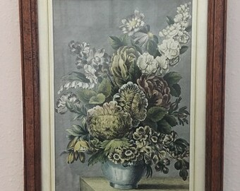 Vintage Beautiful Colored Floral Engraving in a Walnut Frame