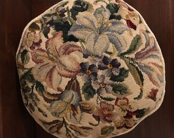 Vintage Handmade 13 in Round Beige Needlepoint Pillow with Overall Floral Spray of Color