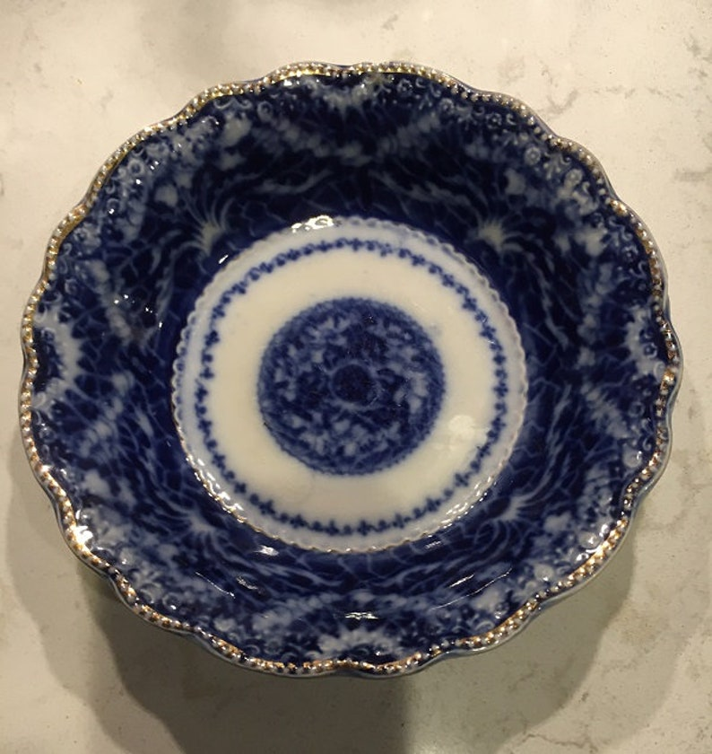 England  1890s Stamped Burslem Flow Blue 6 in Bowl with Gold Gilded Trim