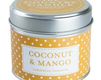 Tinned candles coconut and mango
