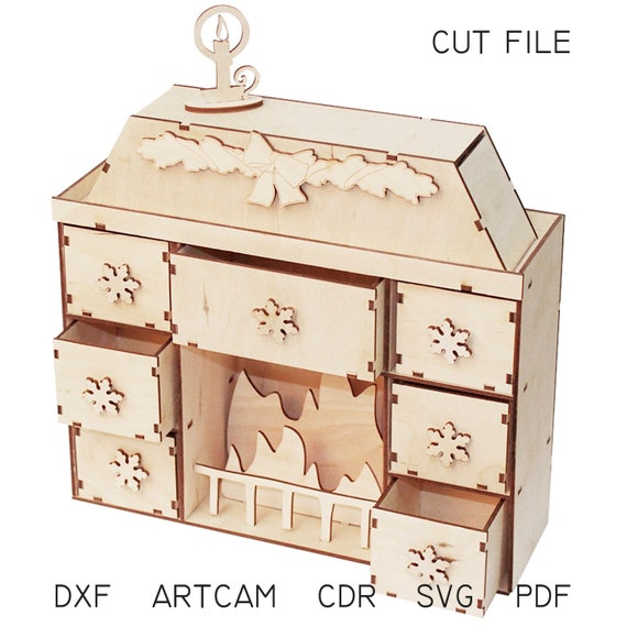 DXF file for laser Advent calendar Fireplace - Vector projects for CNC  router and laser cutting, svg Files, dxf laser cut