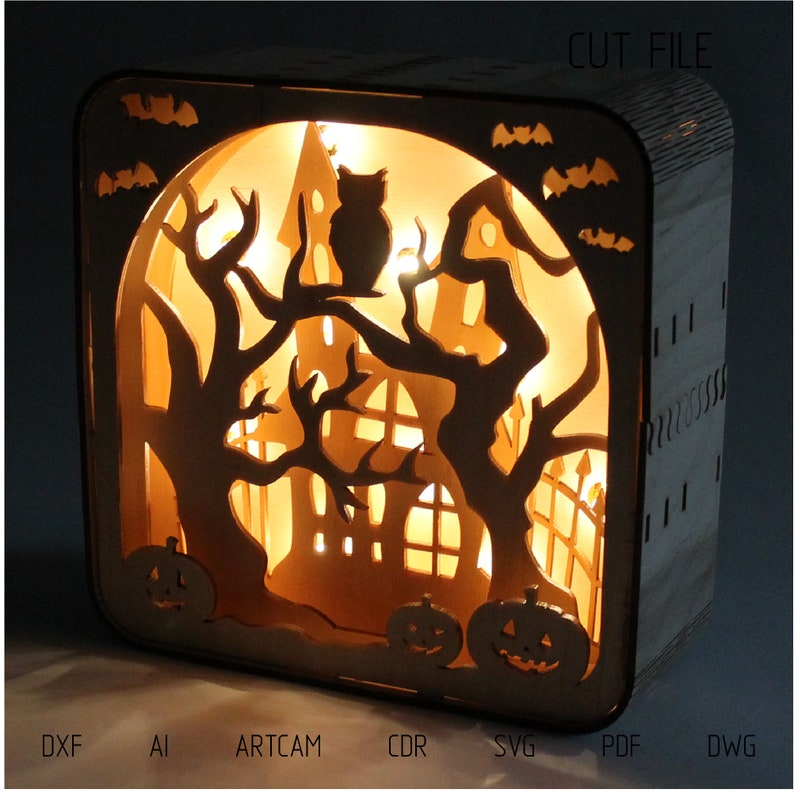 DXF files for laser Light box Halloween You can image 0