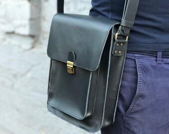 e5be17d135 Mens blue leather crossbody bag Men messenger bag Man bag Shoulder bag men  Small crossbody bag Satchel bag Mens leather bags Gift for him