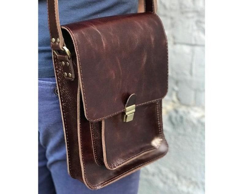 9fa2698ac Mens crossbody bag Messenger bag men Brown mens bag | Etsy