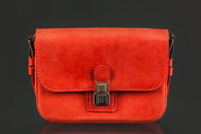 Women crossbody bag Leather shoulder bag Red bag Small leather  5313d29bd5d08
