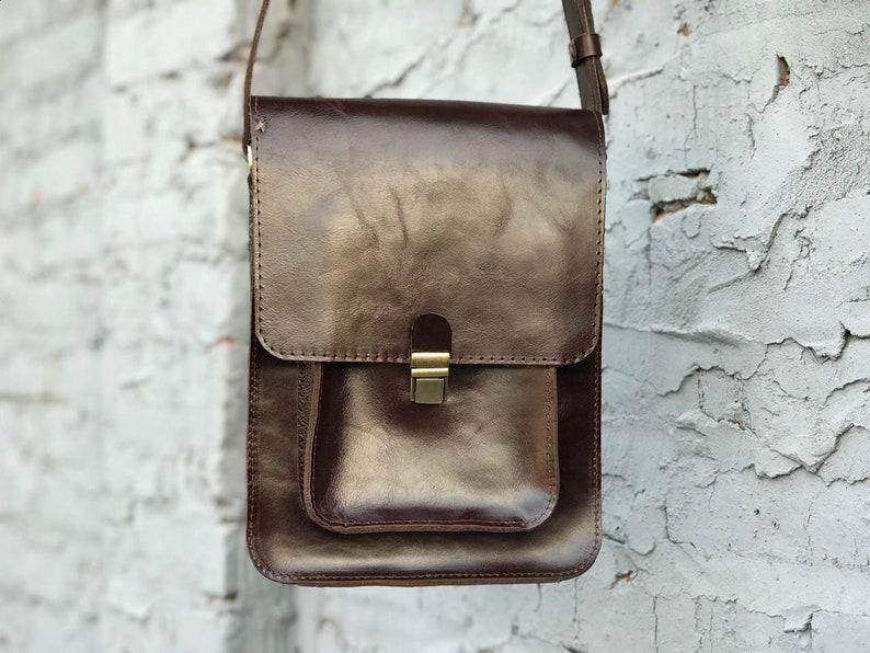 808cf3d875ac Mens messenger bag Leather shoulder bag Cross body bag Brown | Etsy