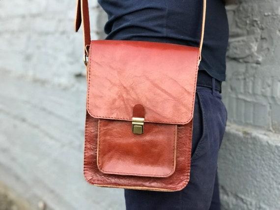 Mens leather bag Mens shoulder bag Mens crossbody bag Small   Etsy e93bf071e6