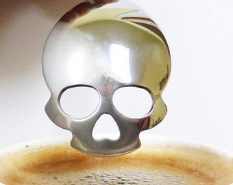 Hot Sale Creative Tableware Skull Shape Hollow Stainless Steel Coffee Spoon