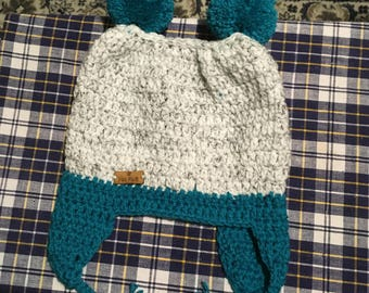 Hand crocheted double Pom Pom hat