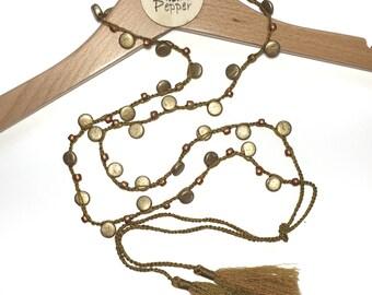 Beaded Crochet Tassel Lariat Necklace
