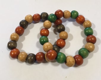 Pair of colored wooden beads bracelets
