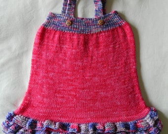 Hand knitted girls' pinafore / tunic top, 100% pure hand-dyed wool, 12 months size, gift