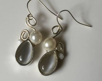 Glass and faux pearl earrings on silver plated wire