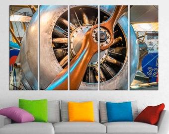 Turbine Aviation Engine Propeller Air Aircraft Poster Decor Wwii Aircraft  Propeller Multi Panel Canvas Print Giclée Art Office Decor Gift