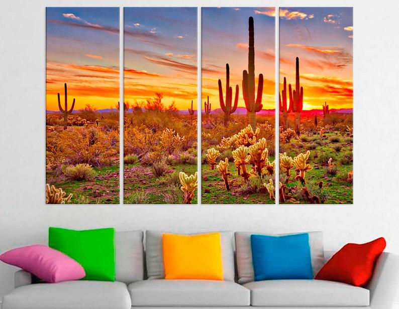 Burnt orange desert sunset print Wall Art Decor for Home Living Room Bedroom