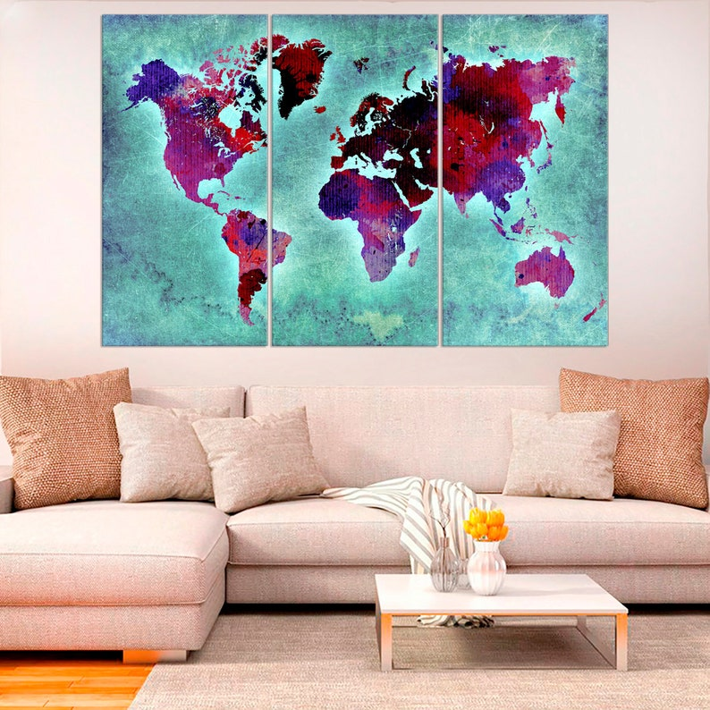 GRUNGE MAP CANVAS WALL ART PICTURES PRINTS DECOR LARGER SIZES AVAILABLE