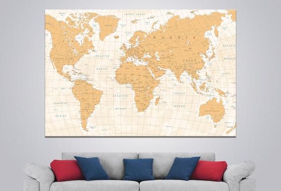 Large World Map Art Detailed World Map Canvas Push Pin World | Etsy