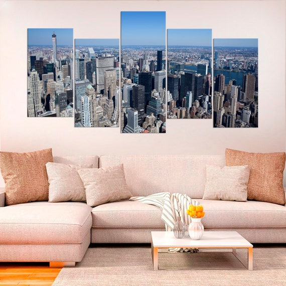 LARGE CANVAS ART PICTURE NEW YORK CITY SCENE ARTWORK