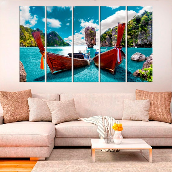 wall art decor for living room.htm thailand longtail boat tropical beach canvas sea view coastal etsy  thailand longtail boat tropical beach