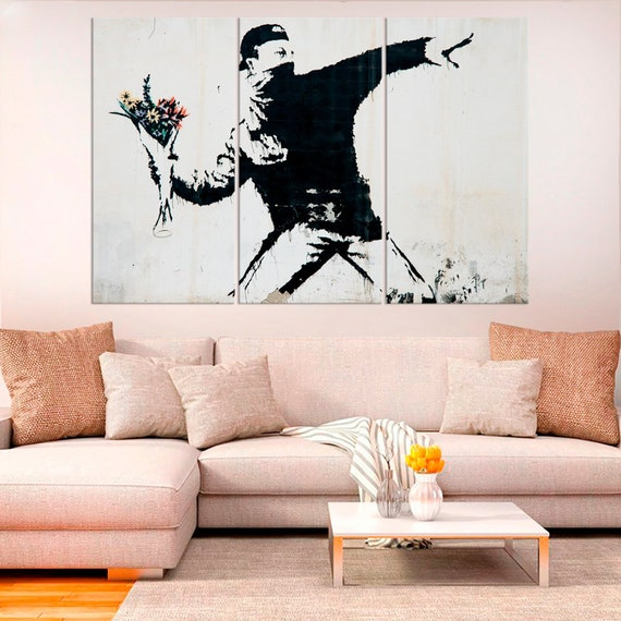 Banksy Canvas Flower Thrower Bomber Wall Hanging Art Print a1 a2