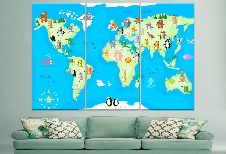 Nursery World Map Animal World Map Kids Room Decor Canvas World Map on glider map, statue map, inverted map, glass map, go to the map, palace map, border map, magnetic map, large map, world map, trench map, floor map, desk map, plant map, plate map, atlas map, home map, green map, englewood map, step map,