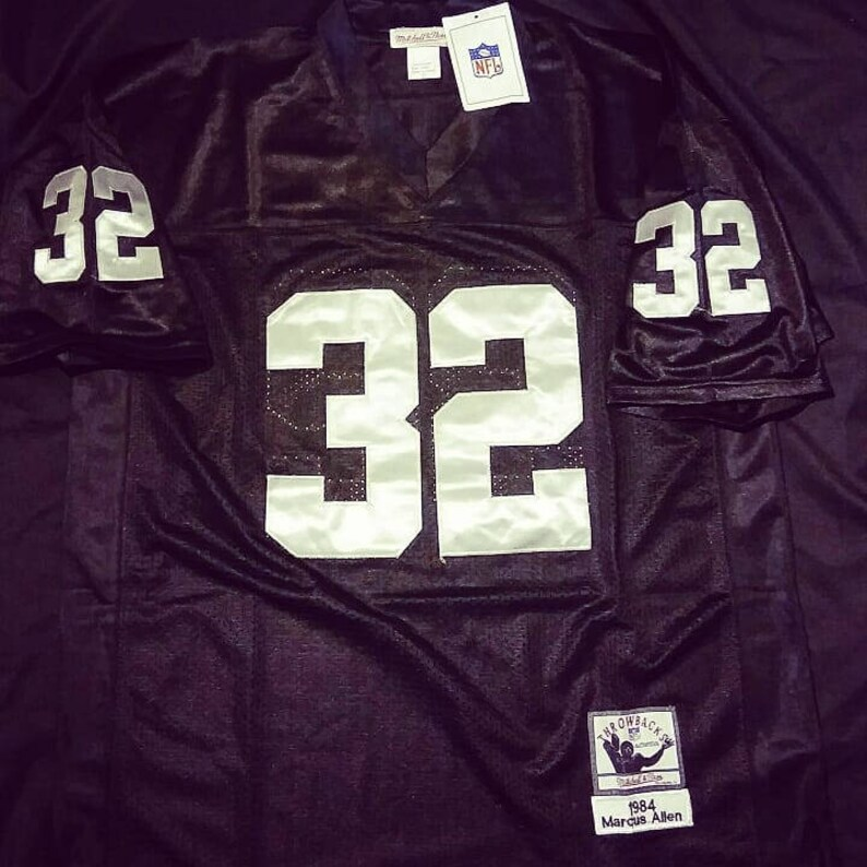 watch 1512d 91f48 Oakland Raiders Marcus Allen 1984 black and silver throwback football NFL  number 32