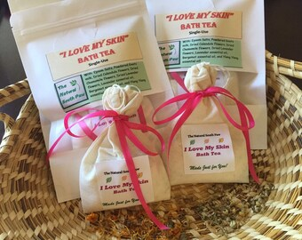 Calendula Chamomile Bath Tea, Free Shipping, I Love My Skin bath tea, bath tea bags, organic bath tea, Goats milk bath tea, Epsom salt bath