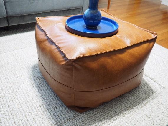 Astonishing Faux Leather Ottoman Pouf Short Links Chair Design For Home Short Linksinfo