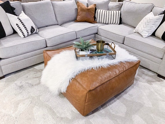Swell Faux Leather Ottoman Pouf Short Links Chair Design For Home Short Linksinfo