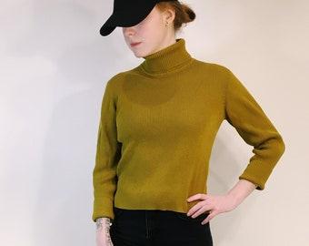 Ribbed Mustard Yellow/Green Turtleneck Sweater