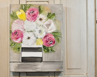 """Acrylic on Canvas Floral // """"Fab Flowers""""  11"""" x 14"""" // Original painting by Tamra Lewis"""