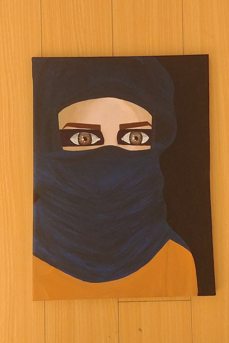 « MusulmaneModerne Enveloppé De Art Mural L'abîme Peinture Dans X 16 Original Femme » 12 Portrait PkZiuOX