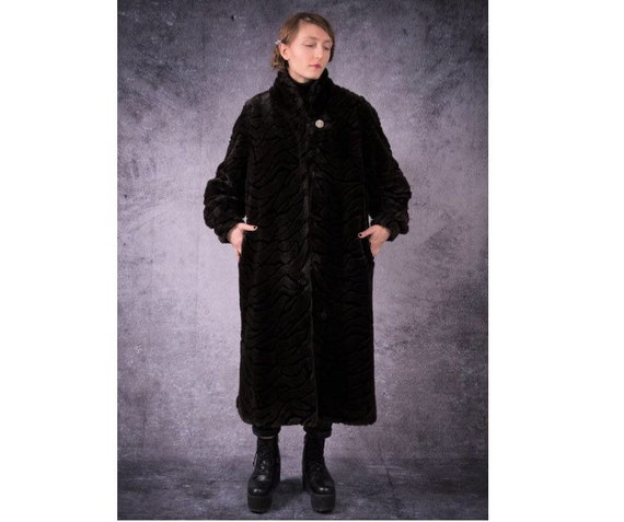 80s vintage black and brown long Fake fur great co